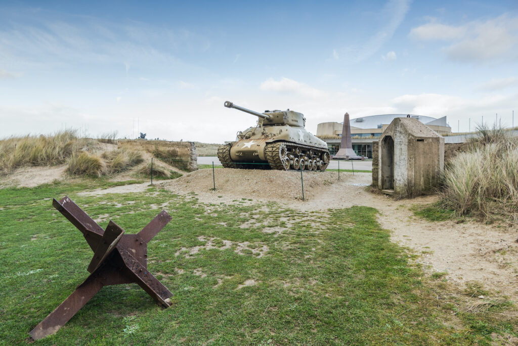 Exploring the D-Day beaches in France.