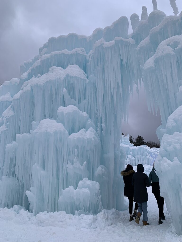 Exploring the Ice Castles in New Hampshire.