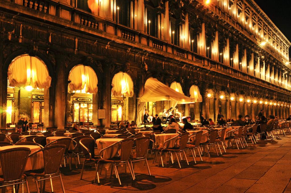 Exterior of Caffe Florian in Venice.