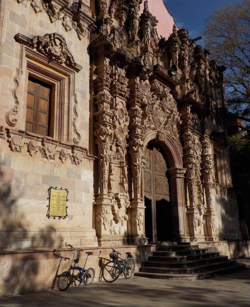 Facade of Mellado Church in Guanajuato, Mexico.