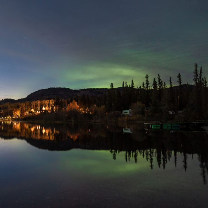 Faint views of the Northern Lights in Canada.