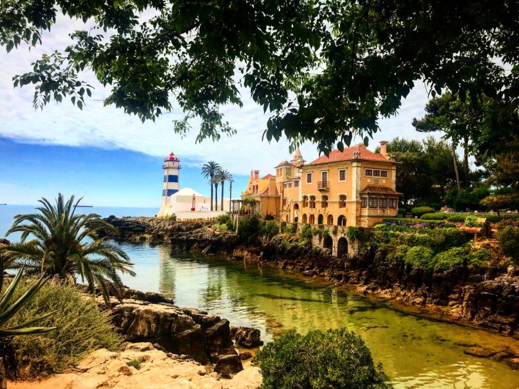 Fairytale Bay lighthouse in Cascais, Portugal.