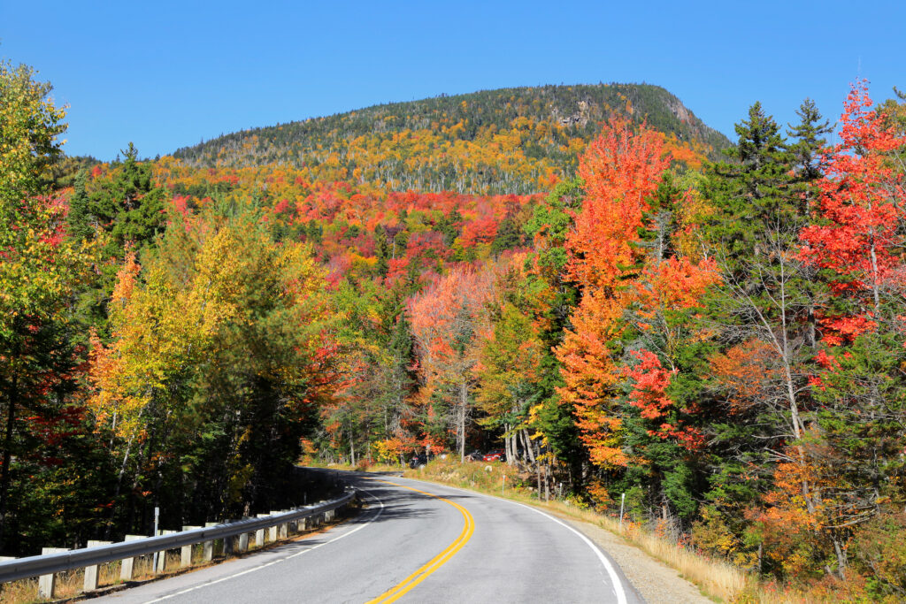 Fall foliage along Kancamagus Highway in New Hampshire.