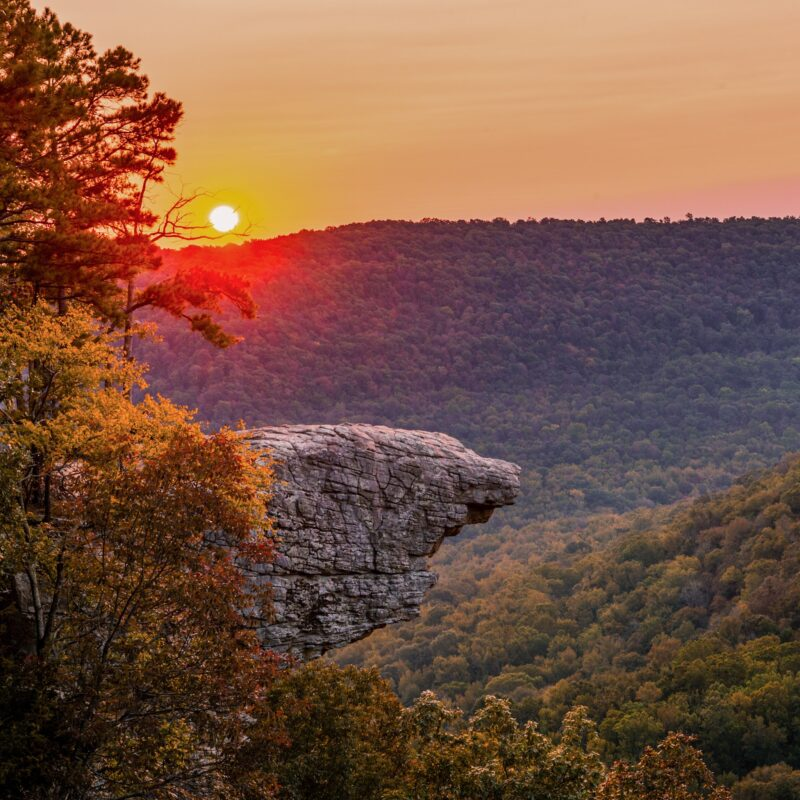Fall foliage at Hawksbill Crag in the Ozarks.