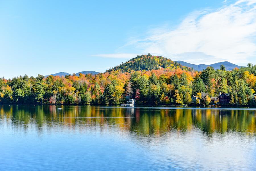 Fall foliage at Lake Placid in New York.