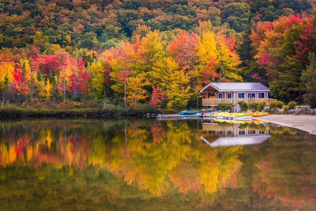 Fall foliage at New Hampshire's Echo Lake State Park.