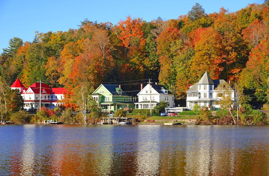 Fall foliage at Saranac Lake in New York.