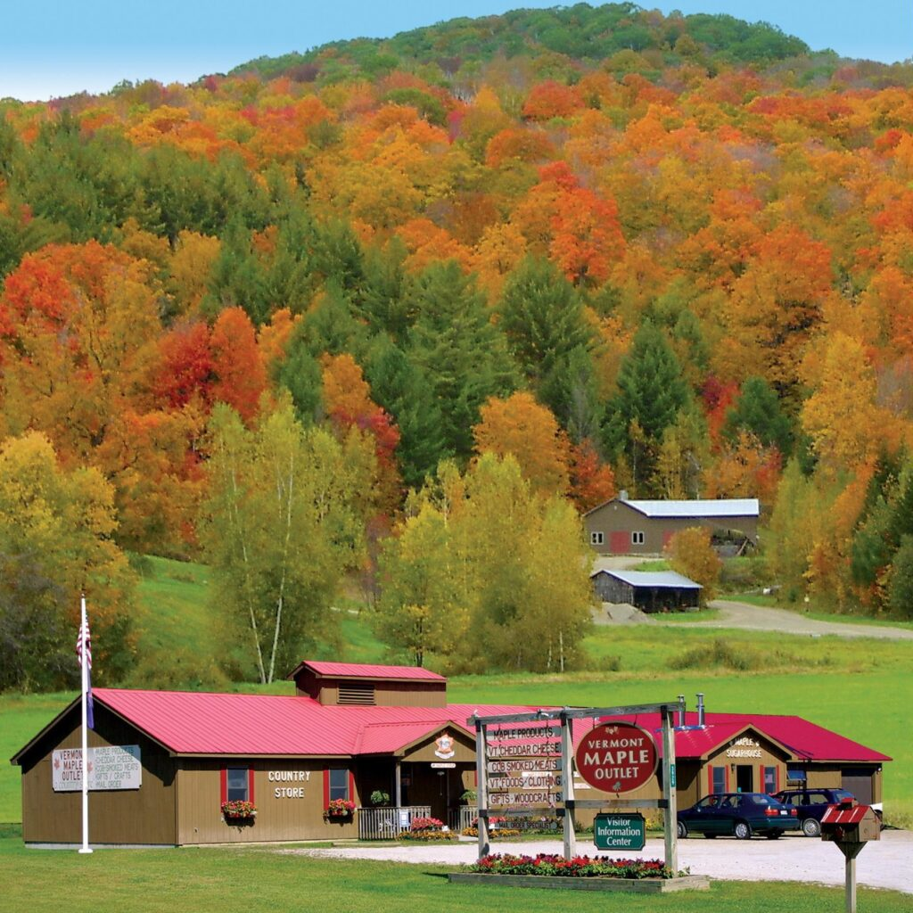 Fall foliage at the Vermont Maple Outlet.