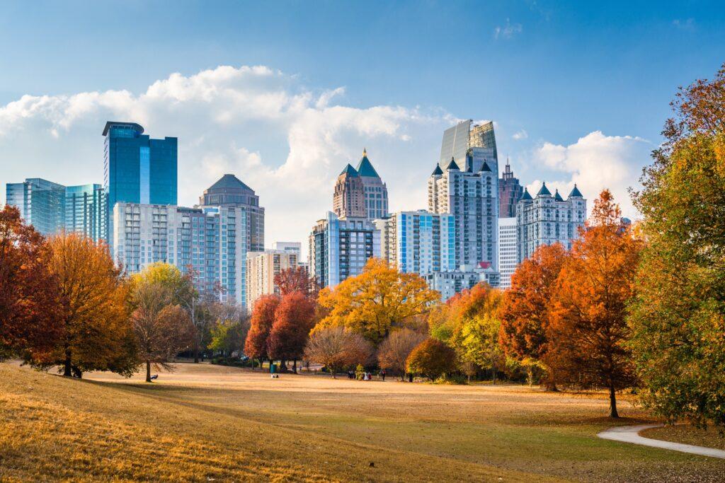 Fall foliage in Atlanta, Georgia.