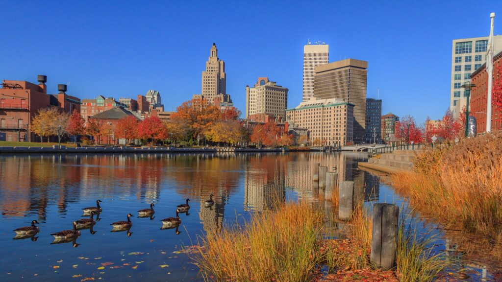Fall foliage in downtown Providence.