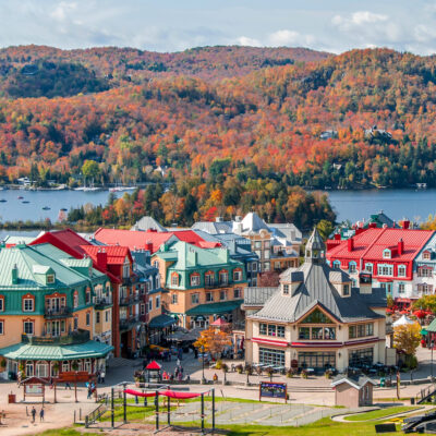 Fall foliage in Mont-Tremblant in Quebec, Canada.