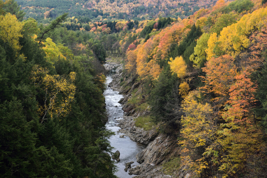 Fall foliage in Quechee, Vermont.