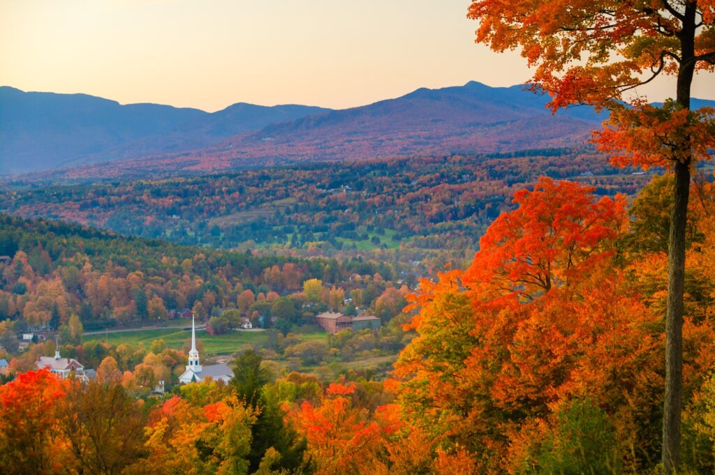 Fall foliage in Stowe, Vermont.