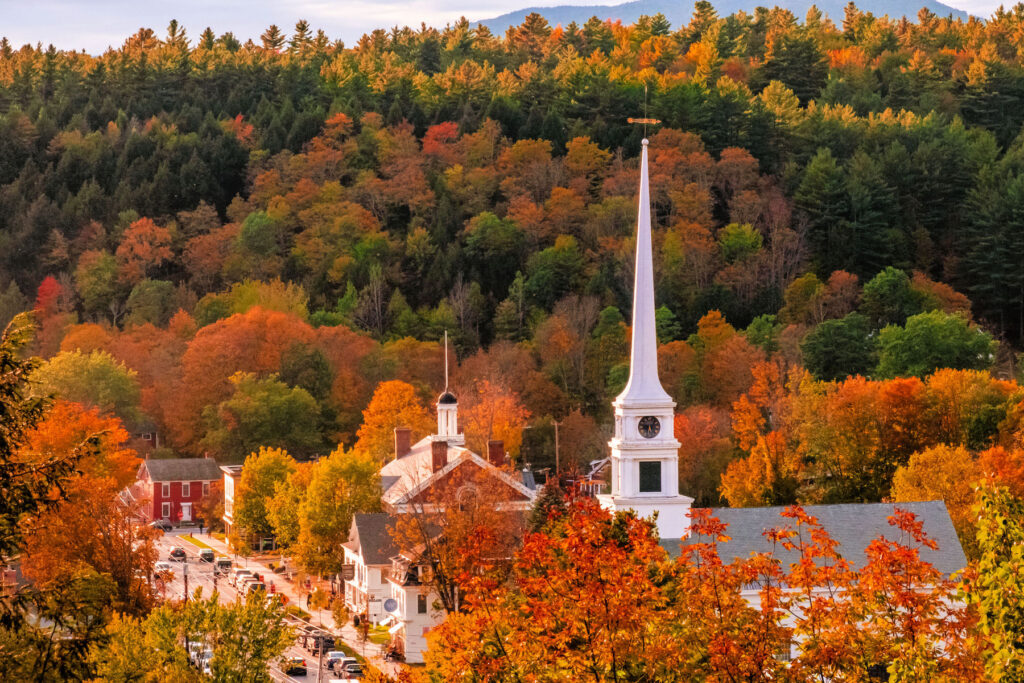 Fall foliage over Stowe, Vermont.