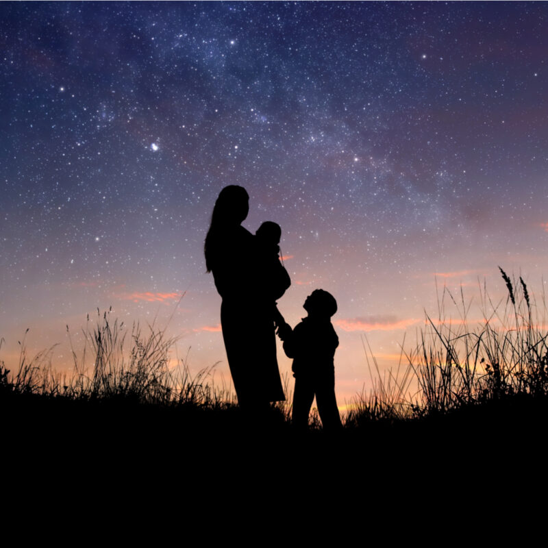 Family in nature, looking at sky.
