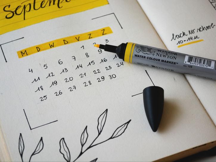 Fancy calendar, month of September with highlighter