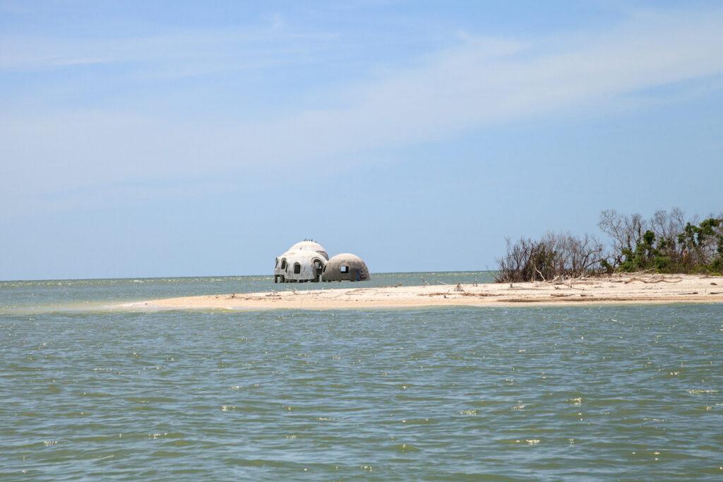 Faraway view of the Cape Romano Dome House near Marco Island.