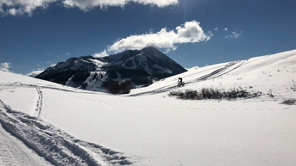 Fat-tire biking through the snow in Crested Butte.
