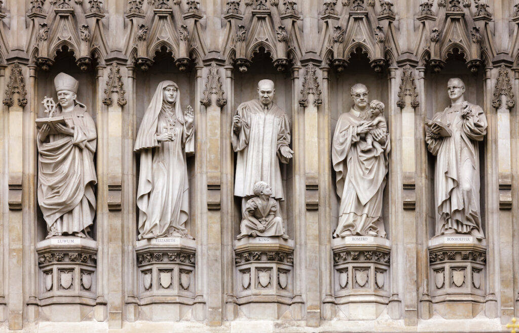 Figures carved into the facade of Westminster Abbey.