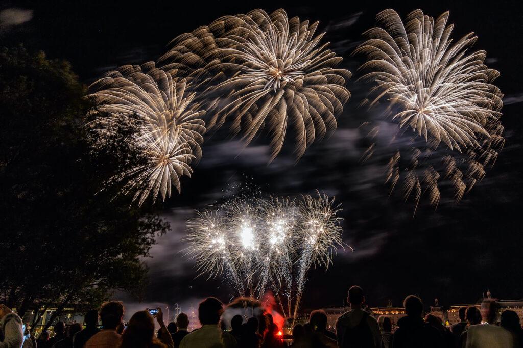 Firework show at Bordeaux Wine Festival.