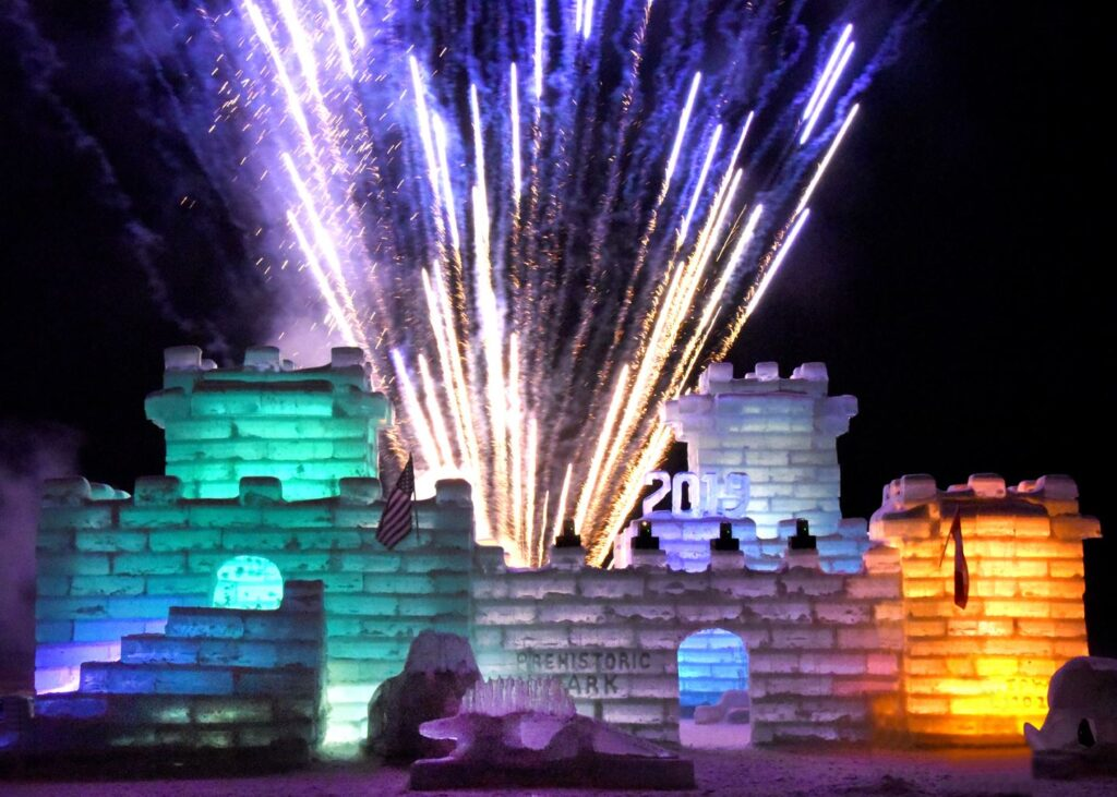 Fireworks and an ice castle at the Saranac Lake Winter Carnival.