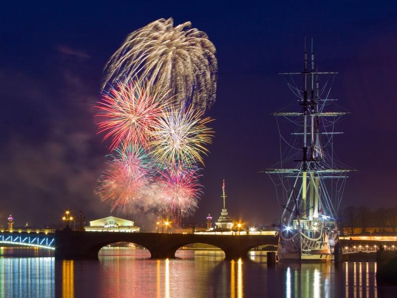 Fireworks on Saint Petersburg Day.