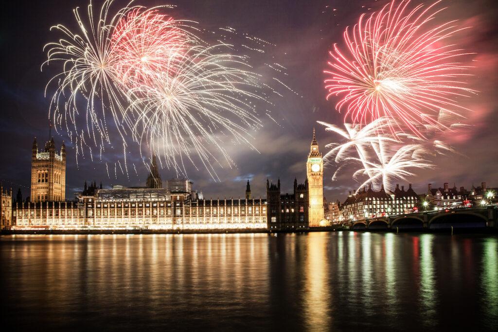 Fireworks over British Parliament on Bonfire Night.