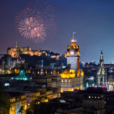 Fireworks over Edinburgh, Scotland, during Hogmanay.