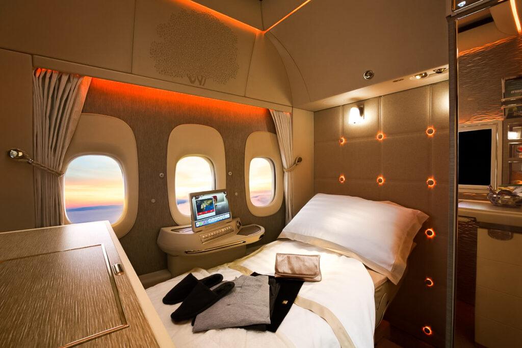 First class bed on an Emirates flight.