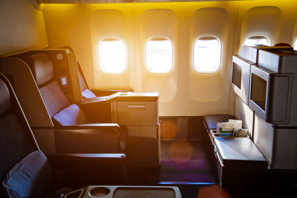 First class on a typical domestic flight.