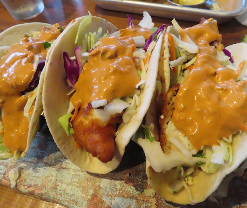 Fish tacos from Bar Harbor Ale House.