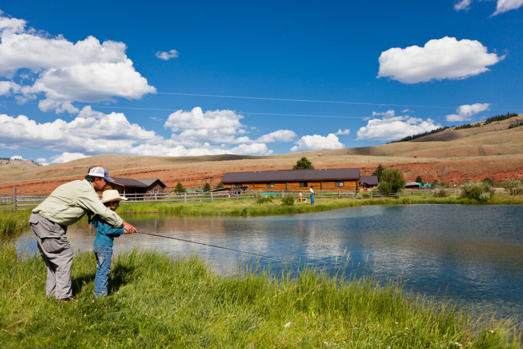Fishing at Red Rock Ranch in Jackson Hole, Wyoming.