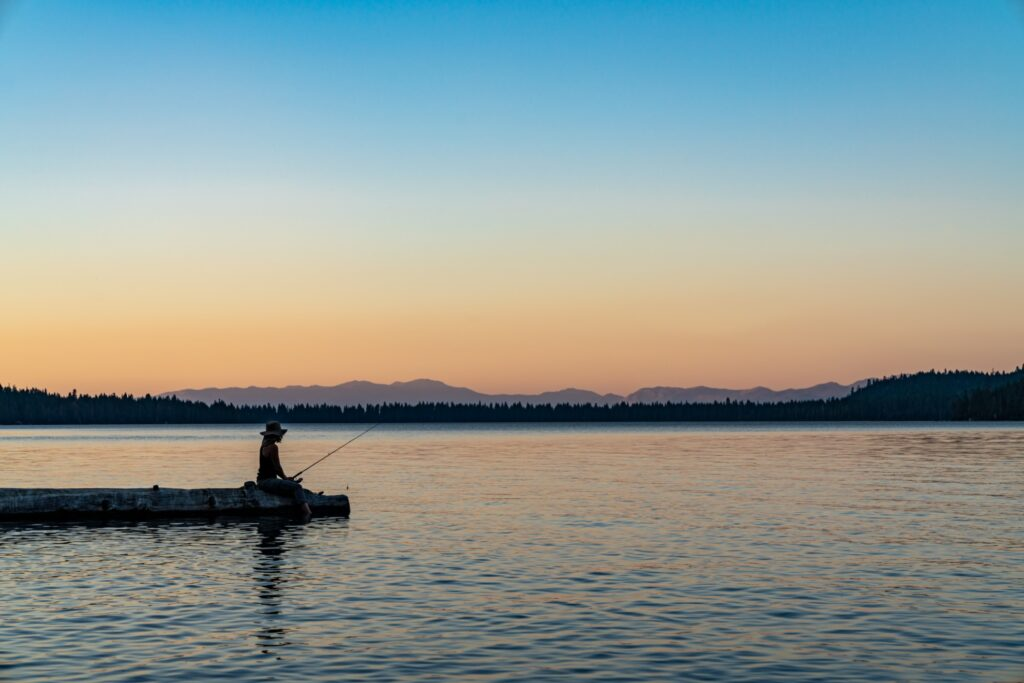 Fishing at sundown at Lake Tahoe.