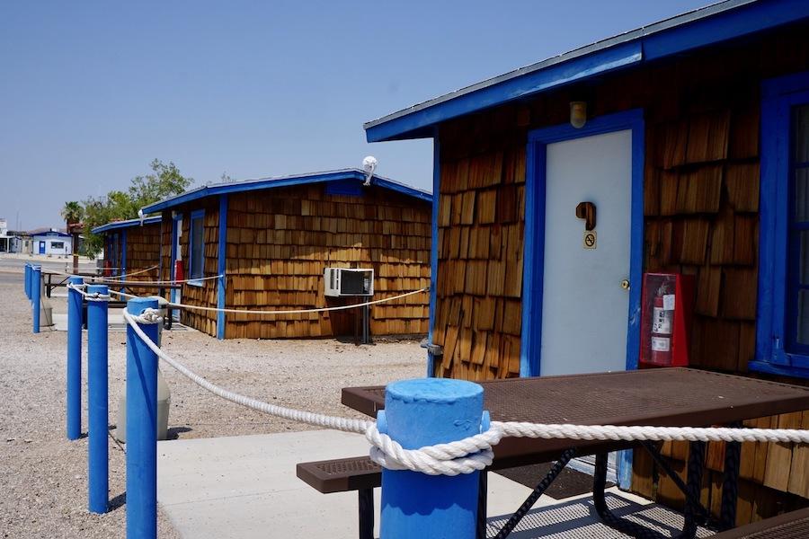 Fishing huts at the Temple Bar Marina.