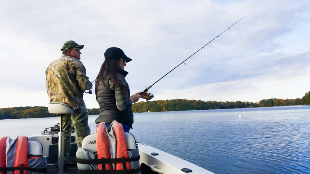 Fishing on Elkhart Lake with Jay's Guide Service.