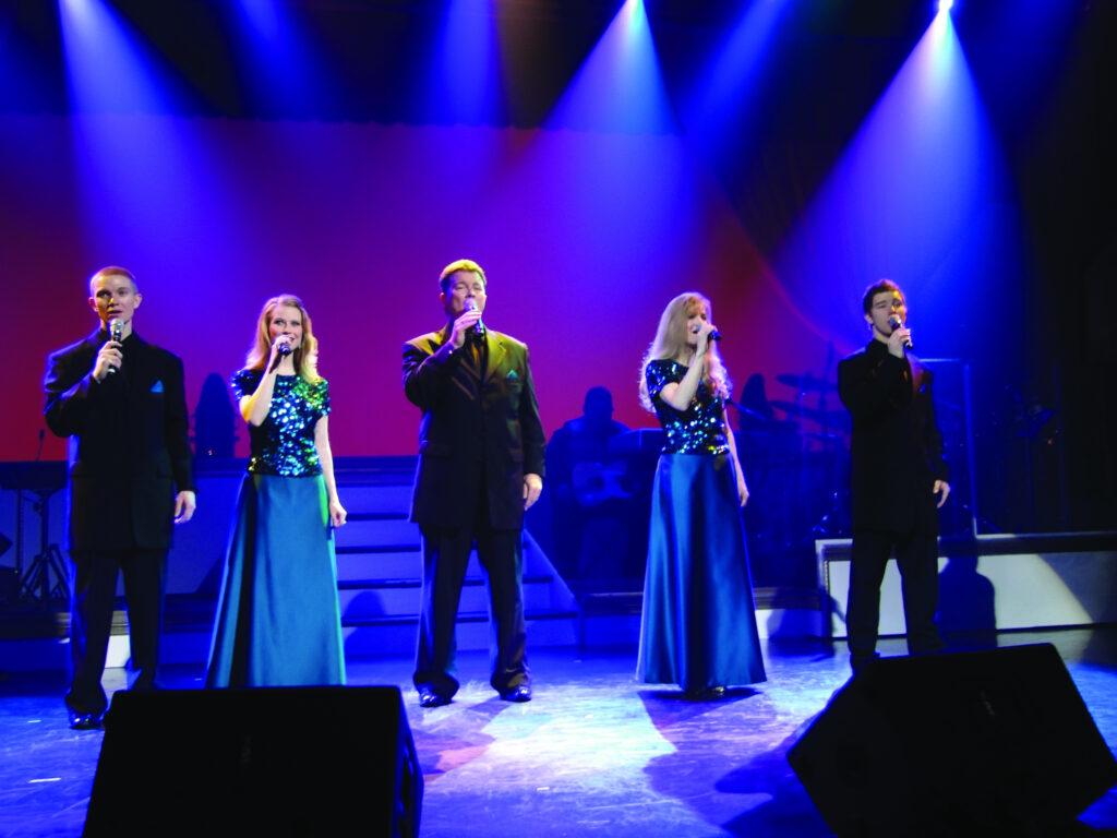 Five gospel singers onstage in Branson.