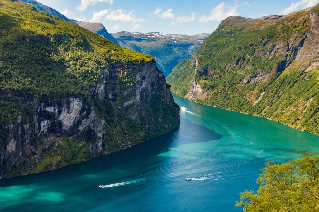 Fjord Geirangerfjord in Norway.