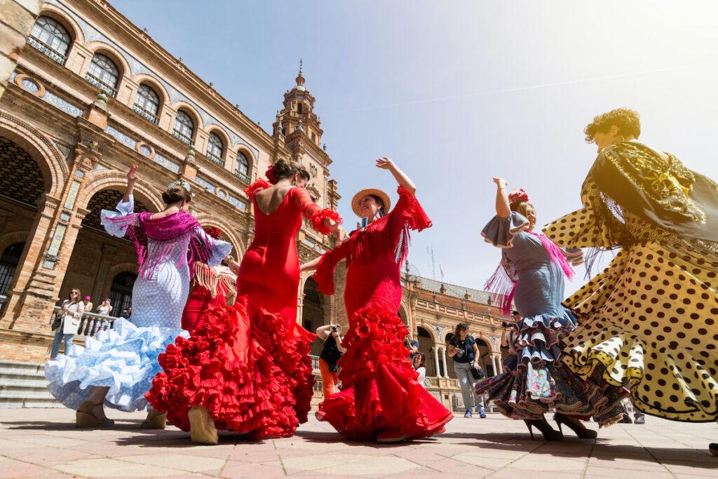 Flamenco dancers in Seville, Spain.