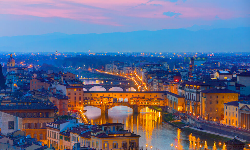 Florence, Italy. Ponte Vecchio lit up.