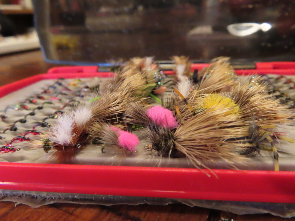 Fly lures used for fly fishing.