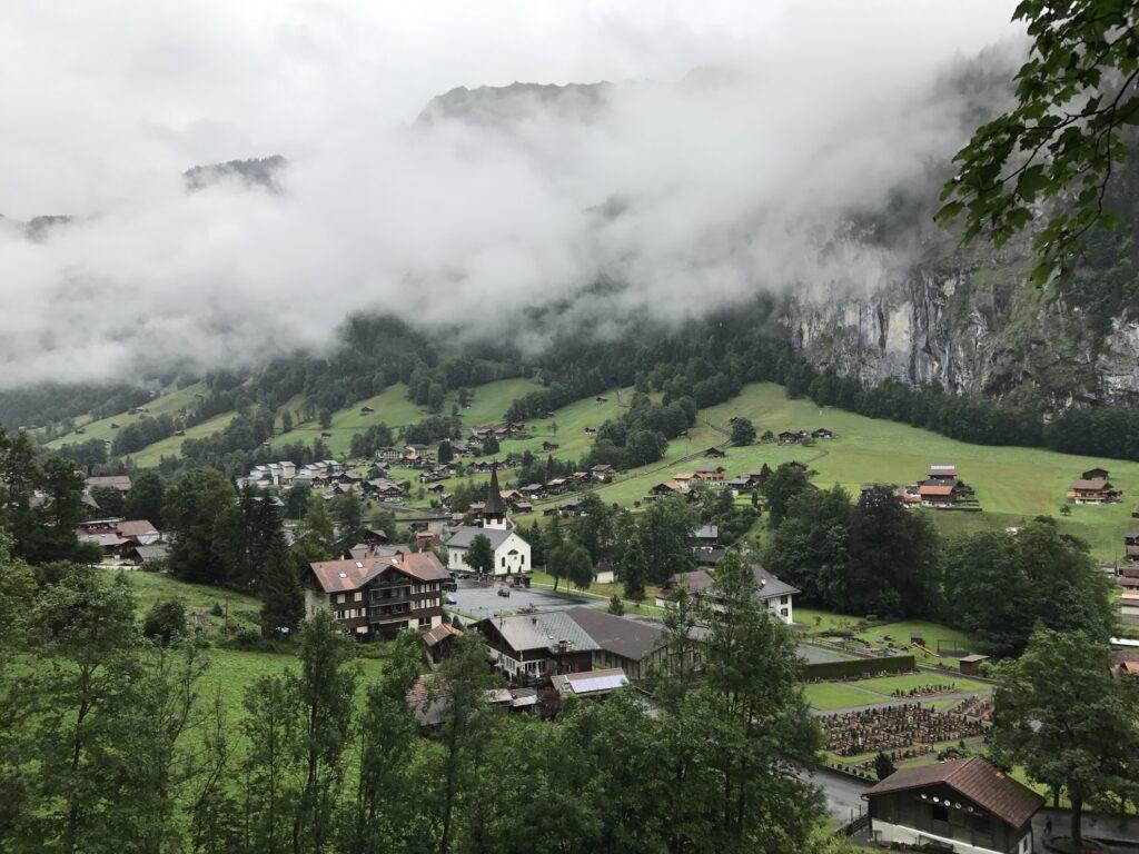 Fog over the town of Lauterbrunnen.