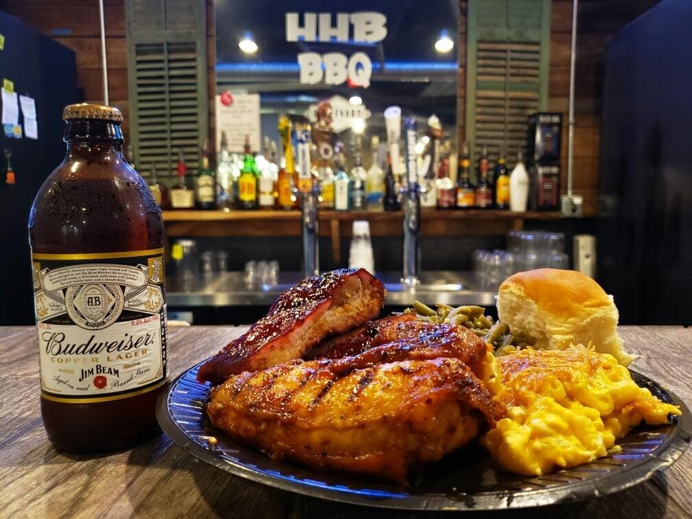 Food and beer from HHB BBQ's in Topeka.