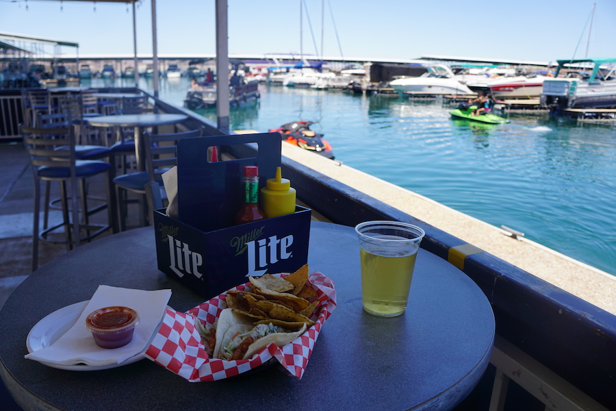 Food and drinks at a cafe on Lake Mead.