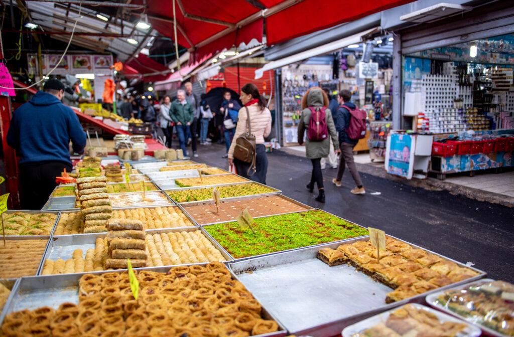 Food stalls at the Carmel Market in Tel Aviv.