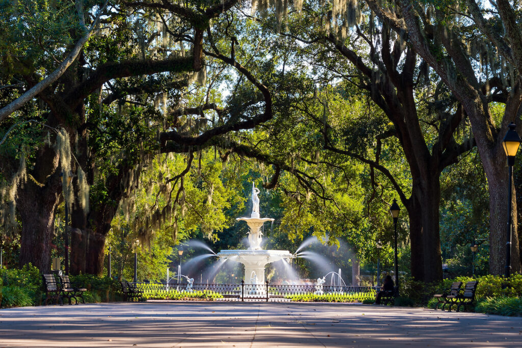 Forsyth Fountain in Savannah, Georgia.