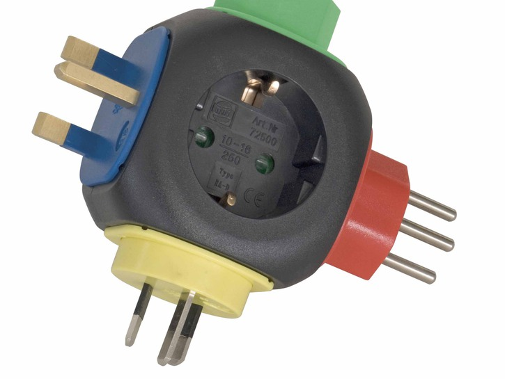 Four-sided international travel adapter.