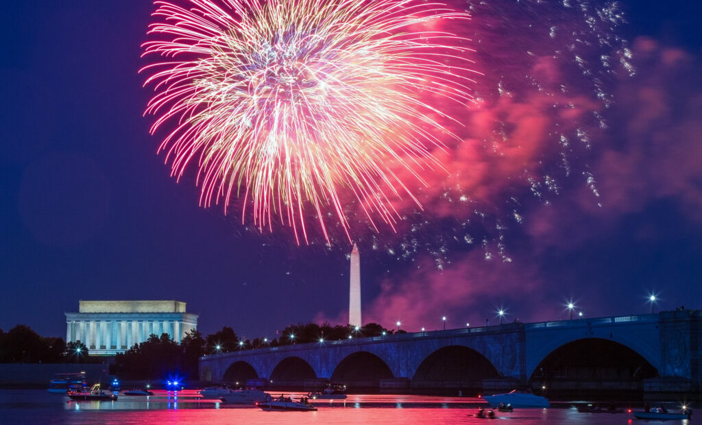 Fourth of July fireworks over the National Mall in Washington, D.C.