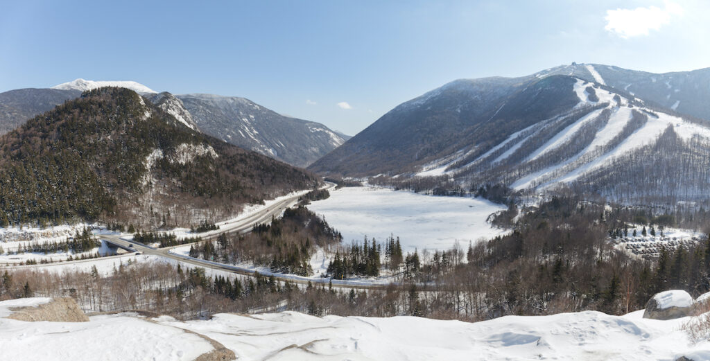 Franconia Notch during winter time.
