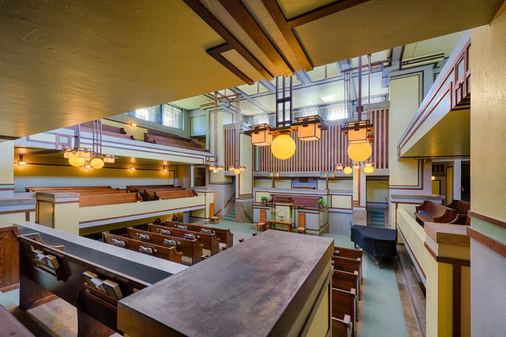 Frank Lloyd Wright's Unity Temple in Illinois.