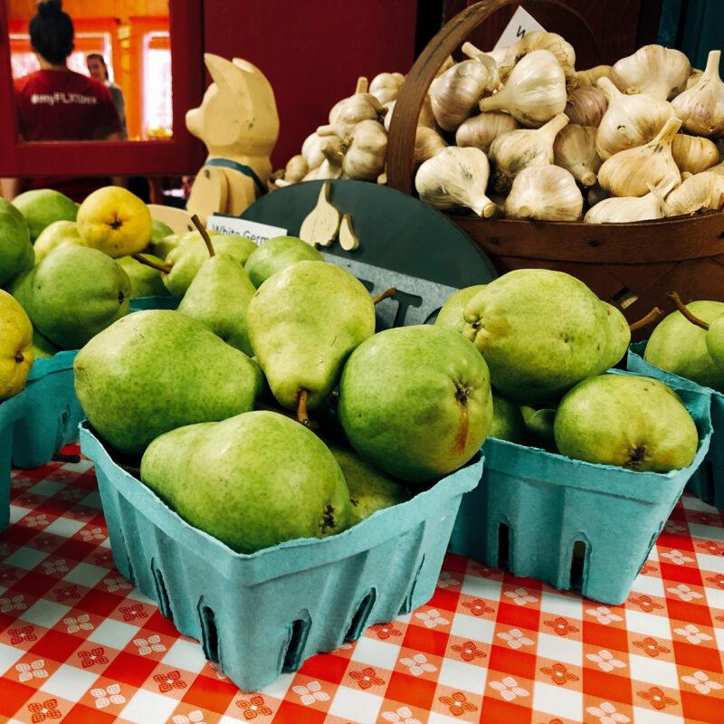 Fresh pears for sale at Reisinger's Apple Country in the Finger Lakes.